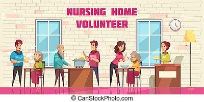 daheim, freiwilligenarbeit, banner, krankenpflege