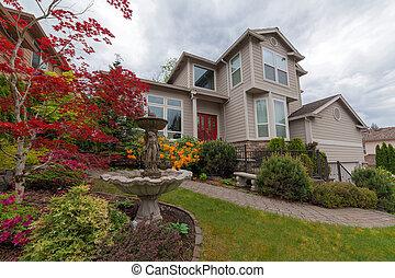 daheim, frontyard, familie, landscaped, ledig