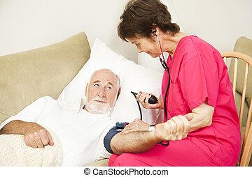daheim, gesundheit, krankenschwester, nimmt, blutdruck