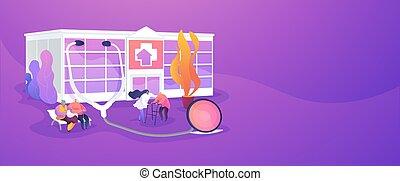 daheim, header., banner, krankenpflege, begriff
