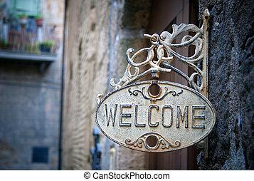 daheim, herzlich willkommen, holzstamm, zeichen