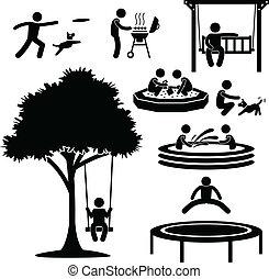 daheim, hinterhof, aktivität, piktogramm
