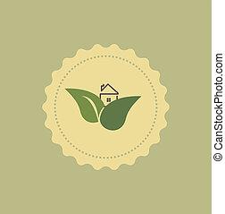daheim, ikone, mit, leaf-vector, abbildung