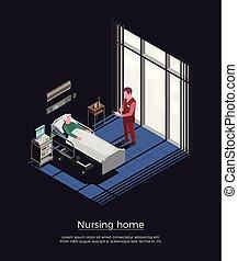 daheim, isometrisch, krankenpflege, hintergrund