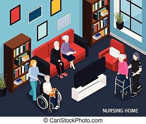 daheim, isometrisch, krankenpflege, zusammensetzung