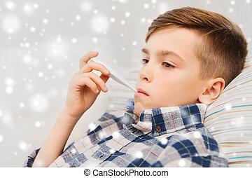 daheim, junge, krank, grippe, thermometer