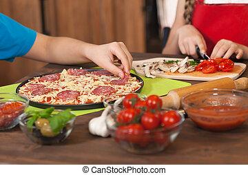 daheim, kinder, pizza, machen
