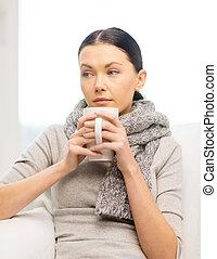 daheim, krank, frau, grippe