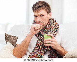 daheim, krank, grippe, mann
