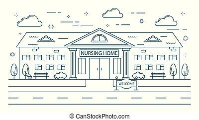 daheim, krankenpflege, gebäude.
