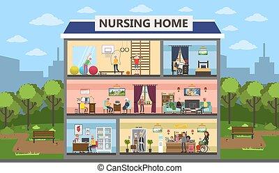daheim, krankenpflege, interior.