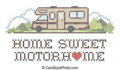 daheim, lieb, reisemobile, stickerei