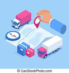 daheim, logisitk, logistics., büro., infographics., isometrisch, auslieferung, stadt