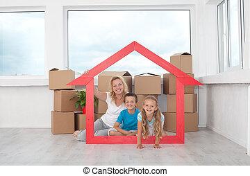 daheim, neu , glückliche familie, ihr