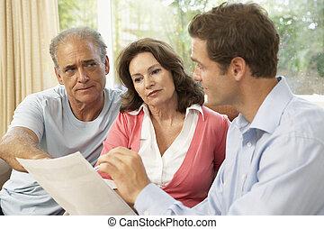 daheim, paar, finanziell, älter, berater
