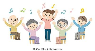 daheim, senioren, genießen, erholung, krankenpflege, leute