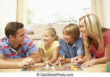 daheim, spiel, spielende , familie, brett