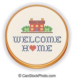 daheim, stickerei, herzlich willkommen