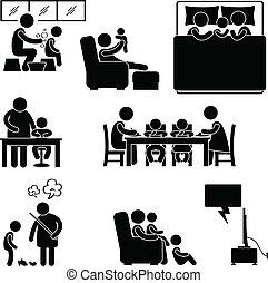 daheim, symbol, aktivität, familie, haus