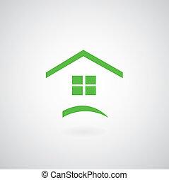daheim, symbol, grün