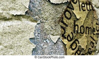 daheim, text, auf, papier, loch