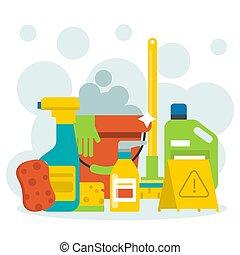 daheim, vektor, karikatur, flecke, putzen, design, wäsche, haushalt, sachen, flüssiglkeit, illustration., sauber, bestellung, hygiene