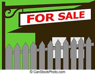 daheim, verkauf, immobilien- zeichen, ikone