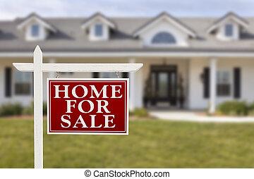 daheim, verkauf, immobilien- zeichen, vor, neues haus