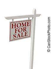 daheim, verkauf, immobilien- zeichen, weiß, mit, ausschnitt
