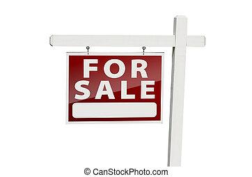 daheim, verkauf, immobilien- zeichen, weiß