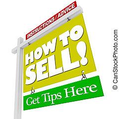 daheim, verkauf zeichen, -, wie, verkaufen, rat, informationen