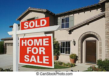 daheim, verkauft, -, verkauf zeichen