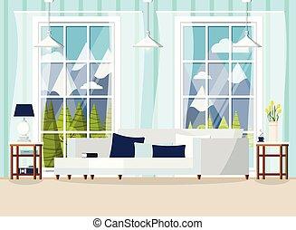 daheim, zimmer, inneneinrichtung, lebensunterhalt, cozy, fenster., hintergrund