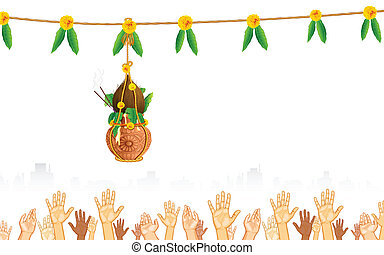Dahi Handi on Janmashtami - illustration of people catching...