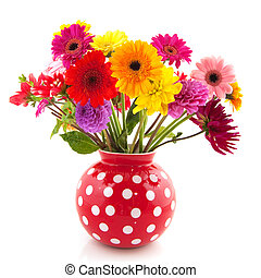 Dahlia and Gerber flowers - Bouquet of Dahlia flowers in red...