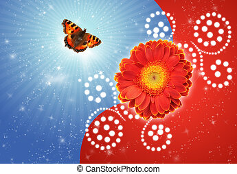 dahlia flower and Butterfly urticaria-face collage