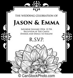 Dahlia or Chrysanthemum Wedding Invite Template