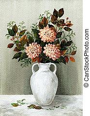 Dahlias in a white jug