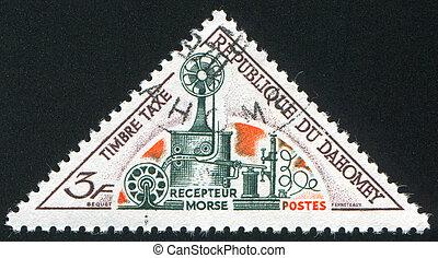 DAHOMEY CIRCA 1967: stamp printed by Dahomey, shows Morse receiver, circa 1967