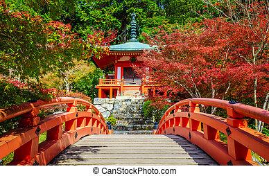 daigoji, tempel, ind, efterår, kyoto, japan