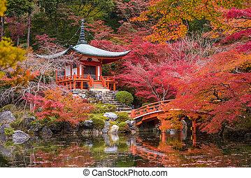 Daigoji temple in maple trees, momiji season, Kyoto, Japan