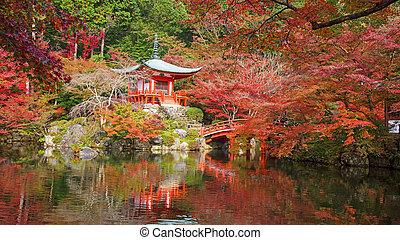 Daigoji temple with autumn maple trees