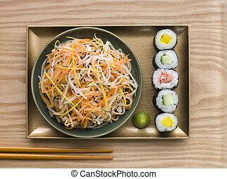 Daikon and Carrot Salad with Sesame Sushi and Wasabi (overhead)