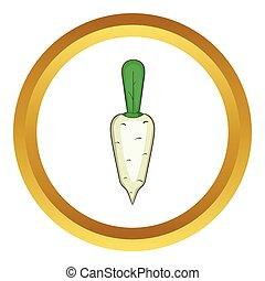 Daikon vegetable vector icon in golden circle, cartoon style...