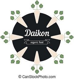 Daikon vegetables illustration. Healthy Organic vegetarian...