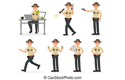 Daily Actions Of Sheriff In Police Department Routine Vector Illustration Set Isolated On White Background