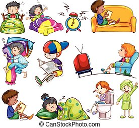 Daily activities of kids on a white background