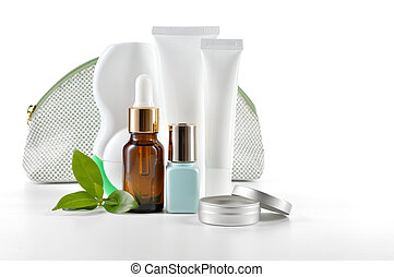 Daily care cosmetics on white background. - Daily, beauty...