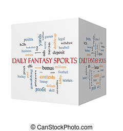 Daily Fantasy Sports 3D cube Word Cloud Concept