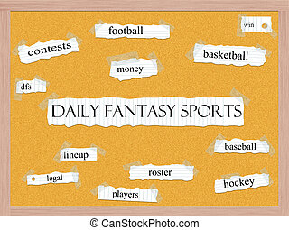 Daily Fantasy Sports Corkboard Word Concept with great terms such as football, win, contests and more.
